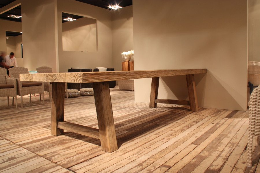 Representative in-situ picture of Block outdoor aged teak table. Please note that the table in this picture is NOT in Antique finish.