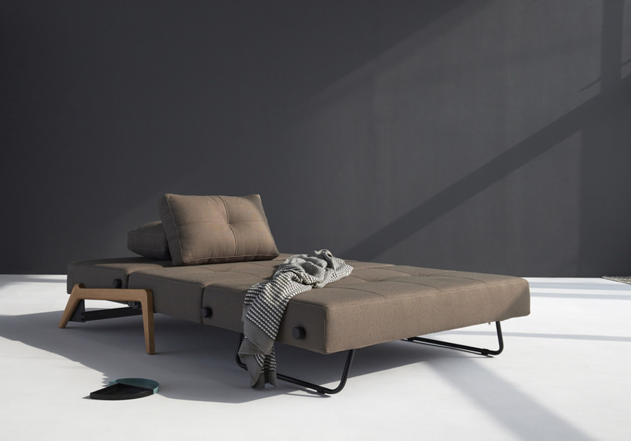 Cubed02 140 double sofa bed by Innovation with Wooden Legs