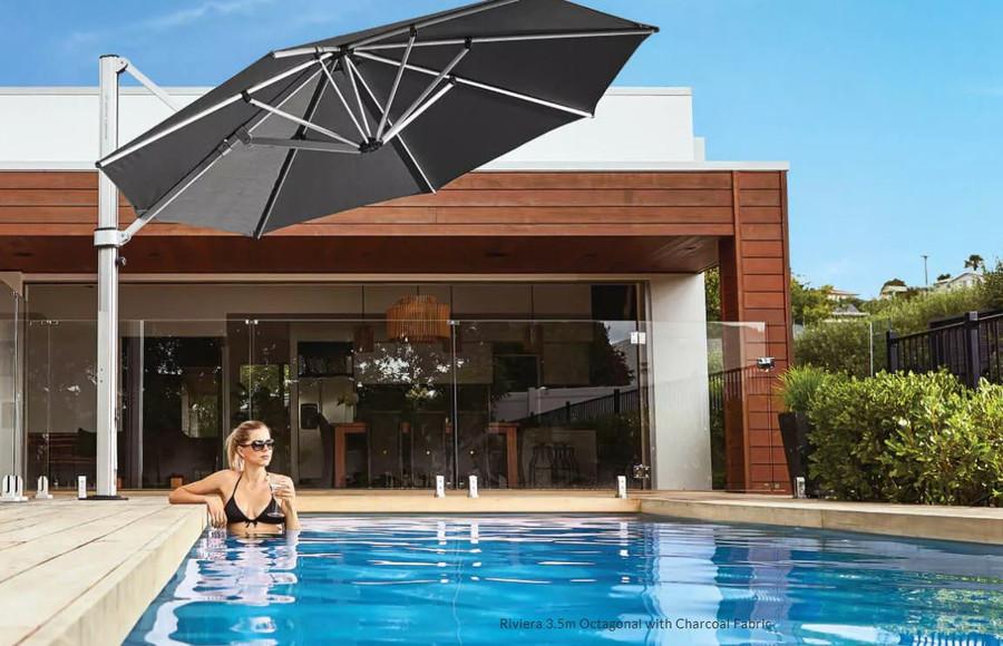 Riviera umbrella 3.5m ocatgonal in black