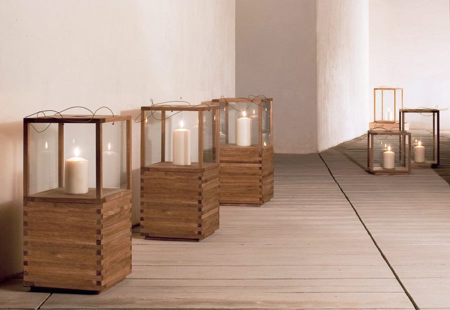 Outdoor teak candle lantern by Tribu