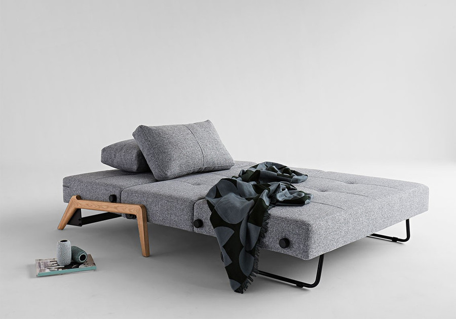 Cubed 140 double sofa bed by Innovation with Wooden Legs