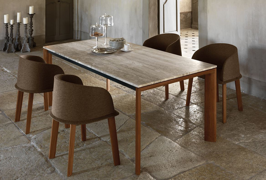 Picture for illustrative purposes only. Top shown is different from product offer - shown in silver travertine. Cleo dining chairs shown in picture not stocked. Available by special order only