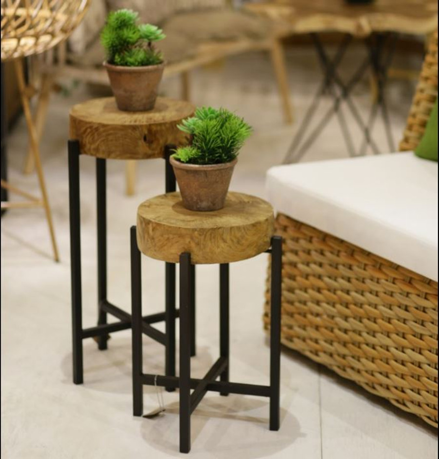 Round Corner Teak Accent Table For Sale In Auckland NZ - Teak and metal outdoor table