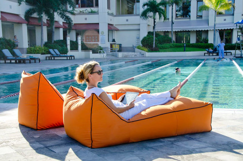 outdoor bean bag in sunbrella fabric. Black Bedroom Furniture Sets. Home Design Ideas