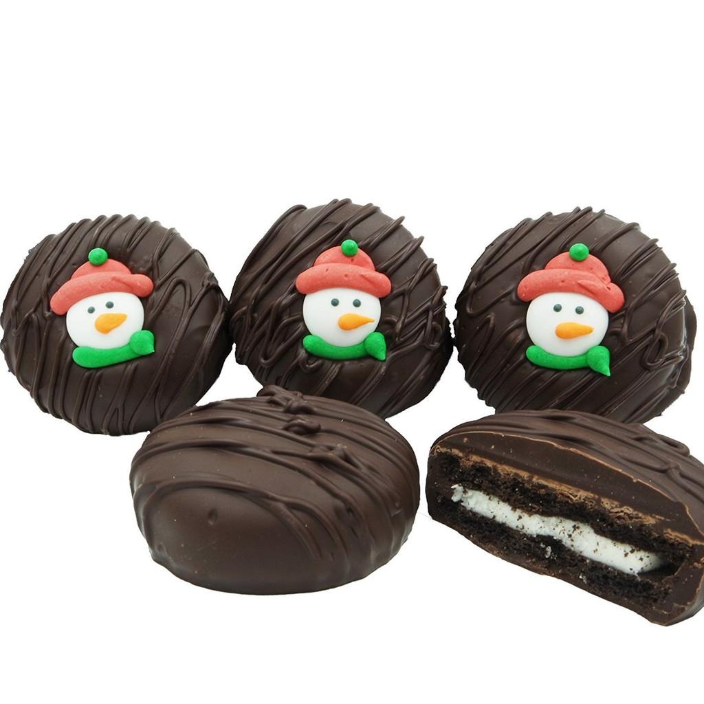Snowman Face Crème Filled Sandwich Cookies, Dark Chocolate