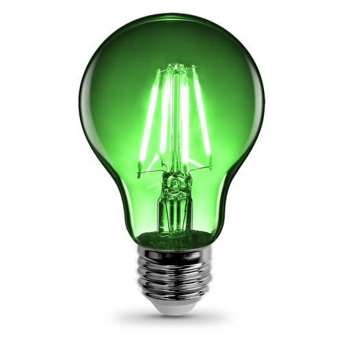 120V 3.6w LED Color Filament A19 Clear Green Light Bulb - A19/TG/LED