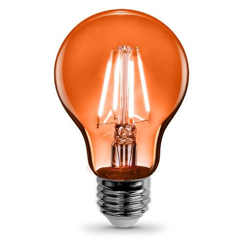 120V 3.6w LED Color Filament A19 Clear Orange Light Bulb - A19/TO/LED