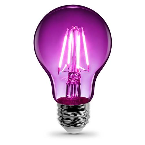 120V 3.6w LED Color Filament A19 Clear Purple Light Bulb - A19/TP/LED
