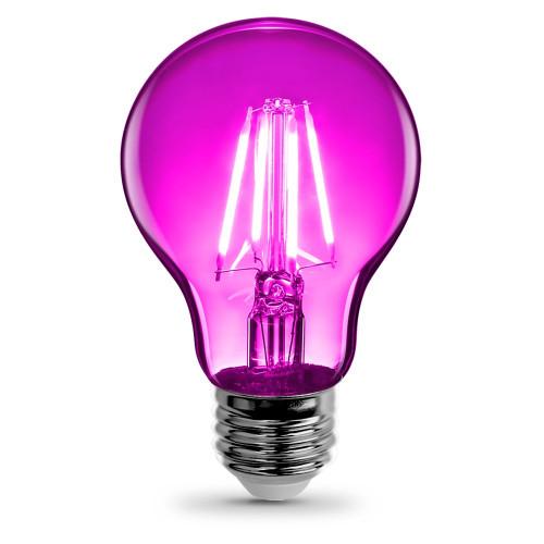 120V 3.6w LED Color Filament A19 Clear Pink Light Bulb - A19/TPK/LED