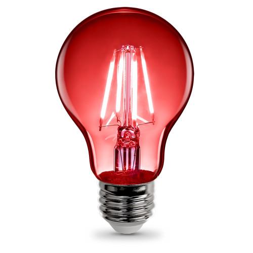 120V 3.6w LED Color Filament A19 Clear Red Light Bulb - A19/TR/LED