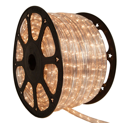 """150 Ft 3/8"""" 2 Wire Clear Incandescent Rope Light Kit - 120V IP65 Waterproof"""