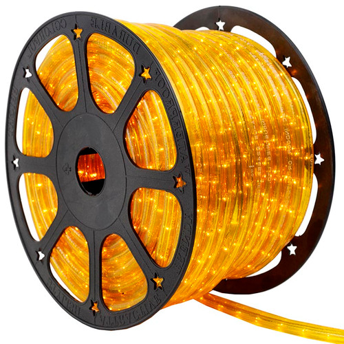 150 Ft 2 Wire Yellow Incandescent Rope Light Kit - 120V IP65 Waterproof