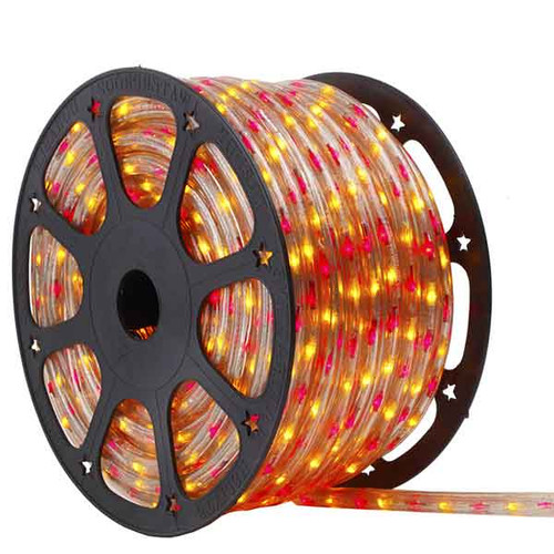 150 Ft 3 Wire Red and Yellow Bi-Color Incandescent Rope Light Kit - 120V