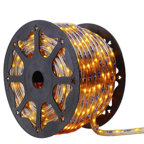 150 Ft 3 Wire Blue and Yellow Bi-Color Incandescent Rope Light Kit - 120V