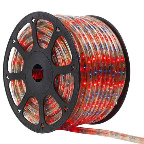 150 Ft 3 Wire Blue and Red Bi-Color Incandescent Rope Light Kit - 120V