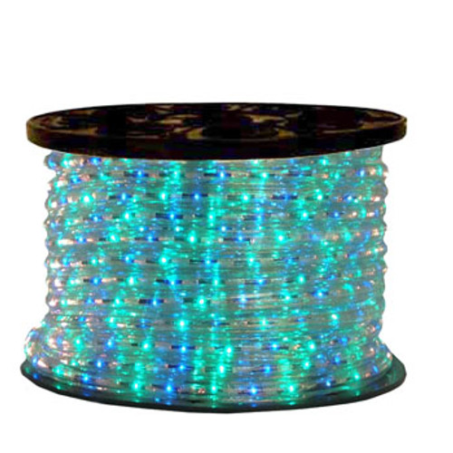 150 Ft 3 Wire Blue and Green Bi-Color Incandescent Rope Light Kit - 120V