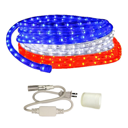 120V Dimmable LED Custom Cut Red, White, & Blue Rope Light - 15ft, 30ft, 60ft