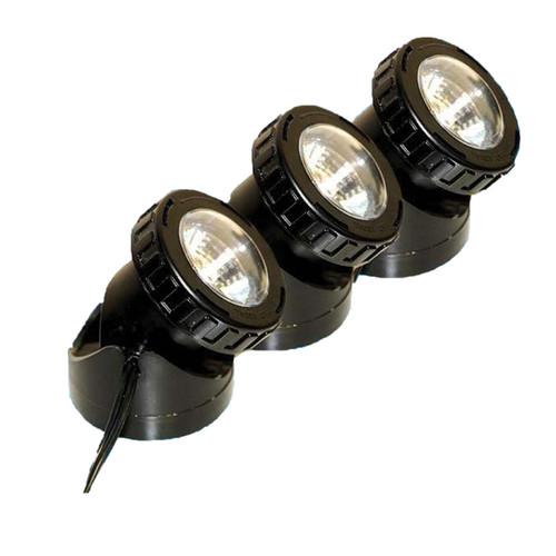 12V LED Solar 3 Light Underwater Fountain Black Spotlight Kit - SOL3-LED