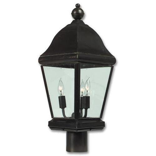 Early american design brass post light aqlighting for Early american outdoor lighting