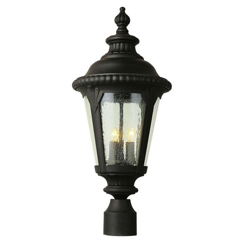 Outdoor 3-Light Post Lantern 5047BK (shown in black and beveled glass)