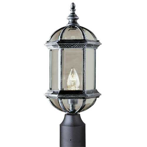Outdoor 1-Light Swedish Iron Post Top Lantern 4186SWI (shown in swedish iron and beveled glass)
