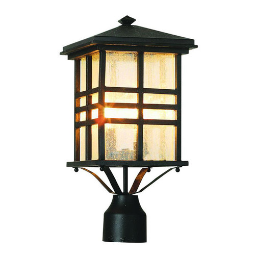 Outdoor 2-Light Post Lantern 4639BK (shown in black and seeded glass)