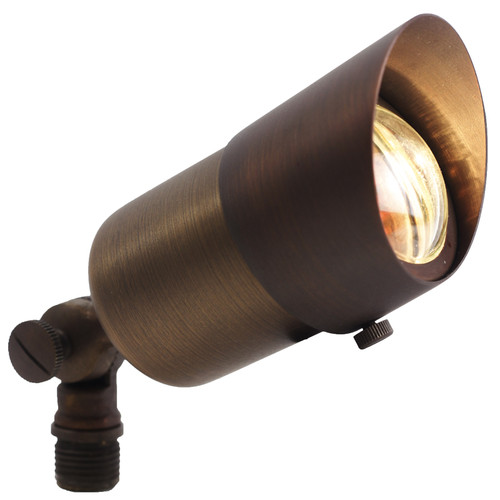 12V LED Premium Bronze Mini Brass Spotlight w/ Angle Shield  - LEDX1108
