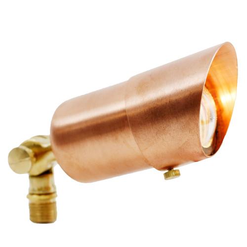 12V LED Premium Mini Raw Copper Spotlight w/ Angle Shield - LEDX1108-RC