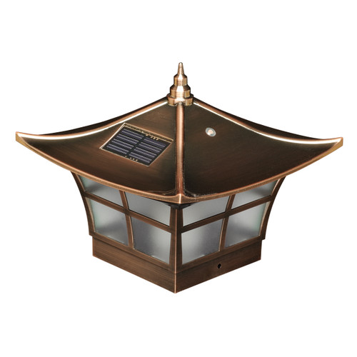 "LED Solar 4"" X 4"" Copper Ambience Post Cap - SL094"