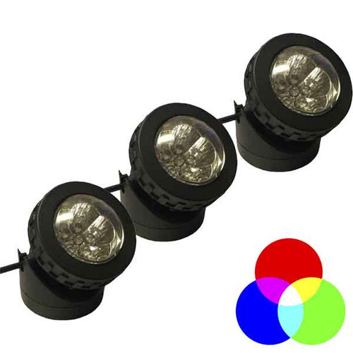 Color Changing LED 3 Mini Composite Solar Spotlight Kit - SOL3-LEDRGB