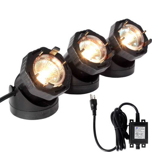 12V 3 Composite Underwater Spotlight Fountain Kit - In Black or White - LARA60KIT