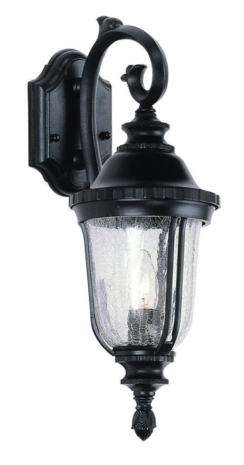 "Crackleglass 20"" 1 Light Wall Lantern 4020BK (shown in black and seedy glass)"