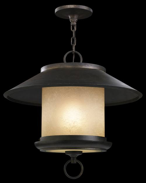 539982ST East-West Passage 1 Light Outdoor Lantern in aged ebony and creamy vanilla glass