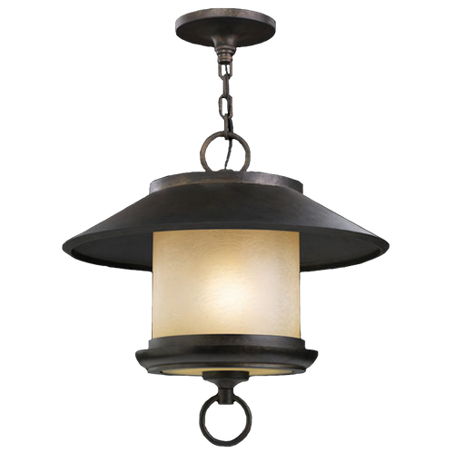 5398802ST East-West Passage Outdoor Hanging Lantern in aged ebony with creamy honey glass shade