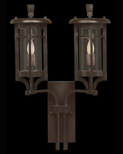 413581ST Aspen 2 Light Outdoor Wall Sconce in dark roan finish and clear seedy glass