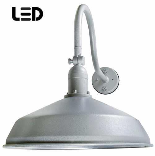 Granite Silver Metal Gooseneck Barn Light - LED Barn Lighting - ADLXSV925