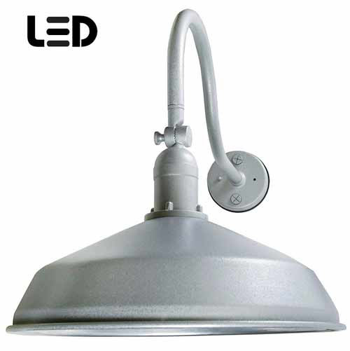 Granite Silver Metal Gooseneck Barn Light - LED Barn Lighting - ADLXSV925