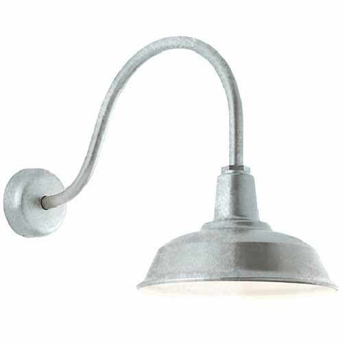 120V Galvanized Gooseneck Barn Light - Warehouse Barn Light - Exterior Barn Light - RH - TroyRLM