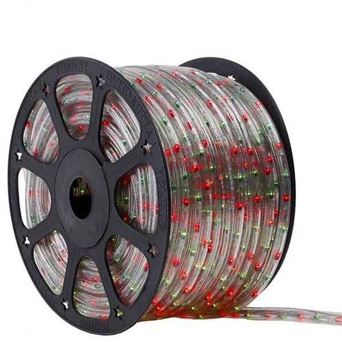 150 Ft 3 Wire Green and Red Bi-Color Incandescent Rope Light Kit - 120V