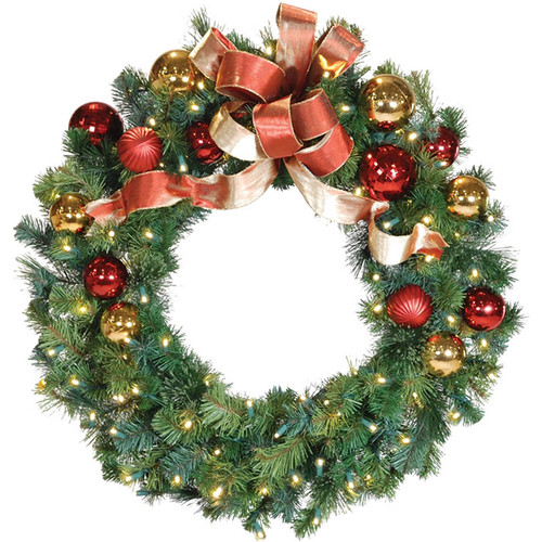 """36"""" Red & Gold LED Christmas Wreath with Honey Apple Bow"""