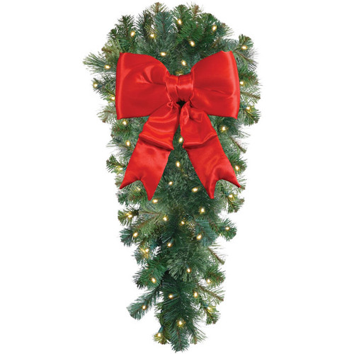 "36"" Classic LED Column Spray with Red Holiday Bow"