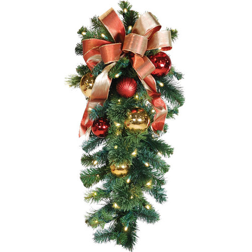 """36"""" Red & Gold LED Christmas Column Spray with Honey Apple Bow"""