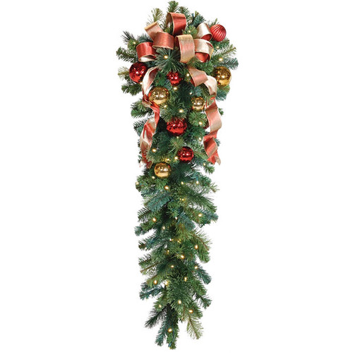 """54"""" Red & Gold LED Column Drop with Honey Apple Bow"""