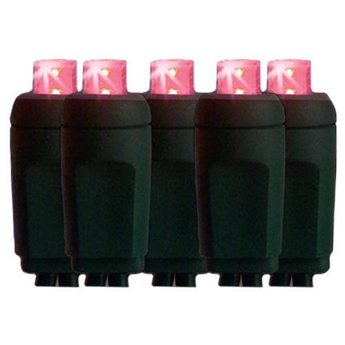 25' Pink Mini 5MM Reflector LED Christmas Lights - String Lights