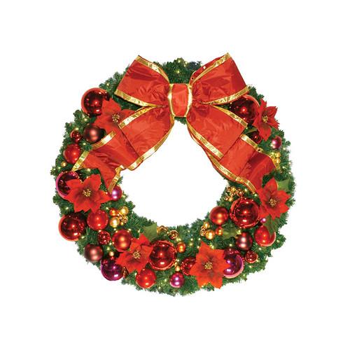 8' Red Poinsettia Holiday Designer Wreath