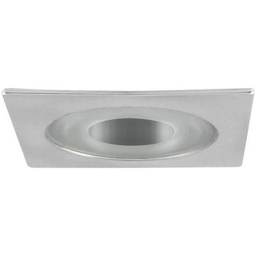 "White 12V 3"" Shower Square Trim w/ Semi-Frosted Lens - Wet Locations - C3795"