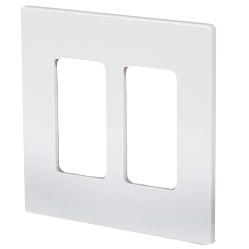 Aspire Screwless Two Gang Wall Plate ASP-9522 White Satin