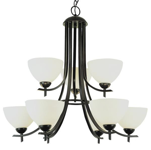 9 Light  Bronze Chandelier 8179