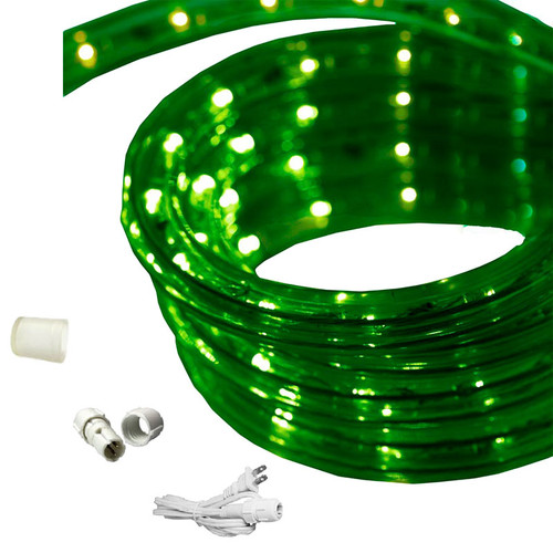 "120v Custom Length True Green LED Rope Light - 1/2"" Diameter - Custom Cut"