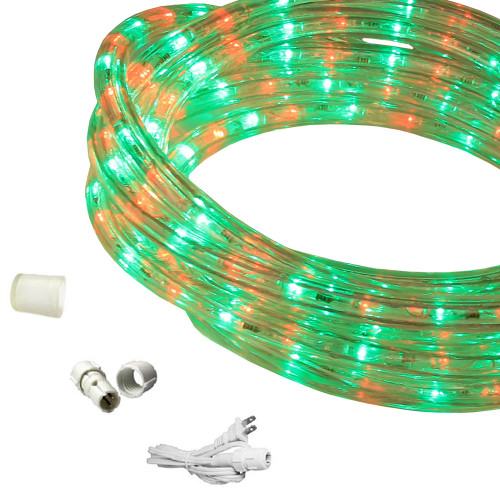 "120v Custom Length Red & Green Bi-Color LED Rope Light - 1/2"" Diameter - Custom Cut"